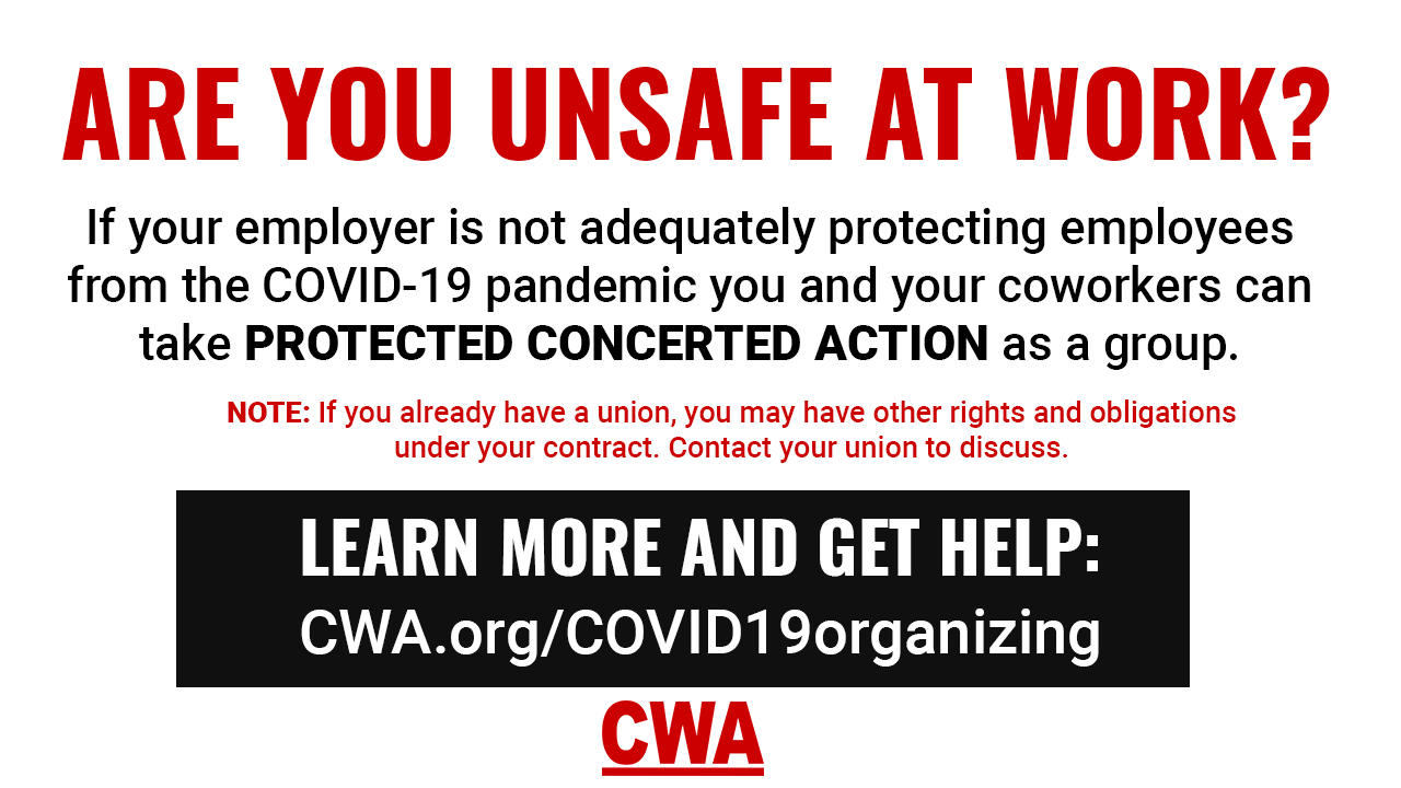 Covid-19 Info for non-union call center workers