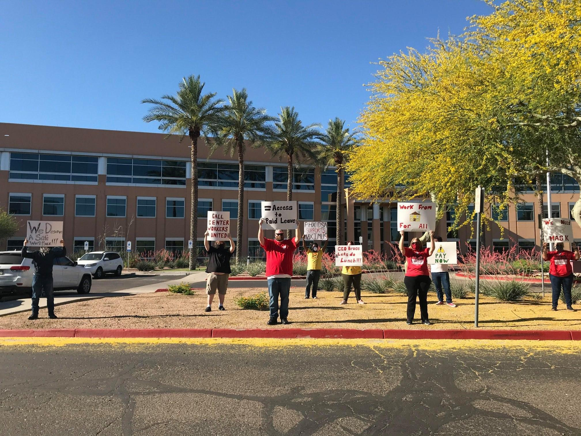 Protest at Maximus call center in Phoenix about working conditions during COVID pandemic